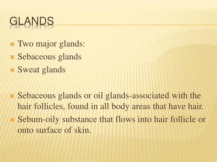 Two major glands: