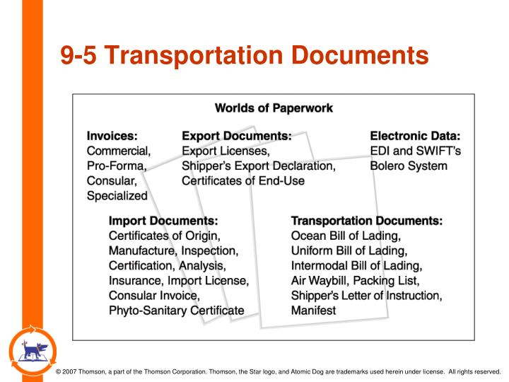 9-5 Transportation Documents
