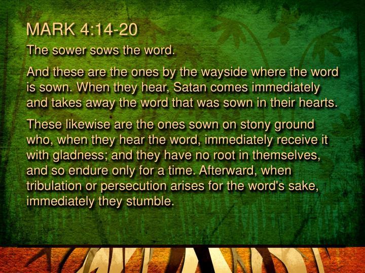 MARK 4:14-20