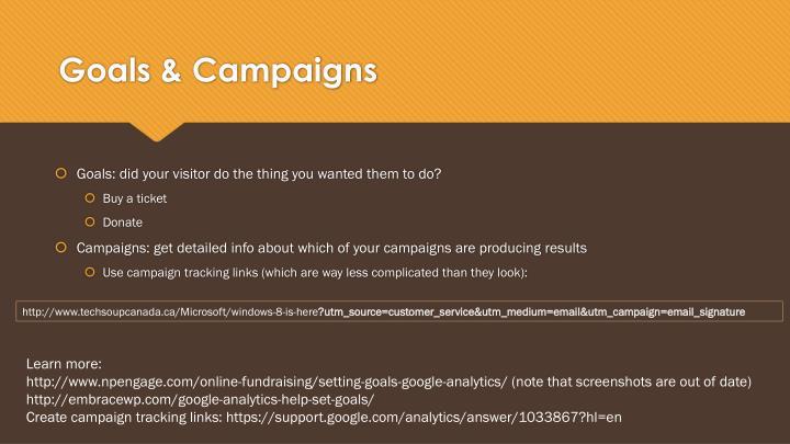 Goals & Campaigns