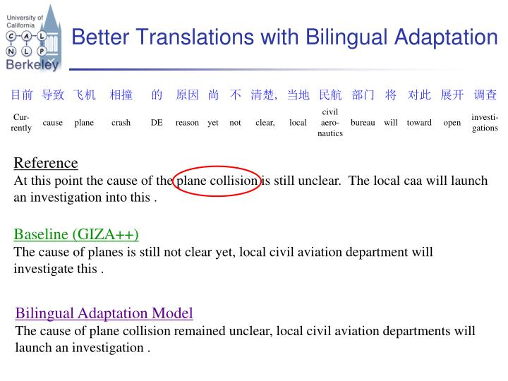 Better Translations with Bilingual Adaptation
