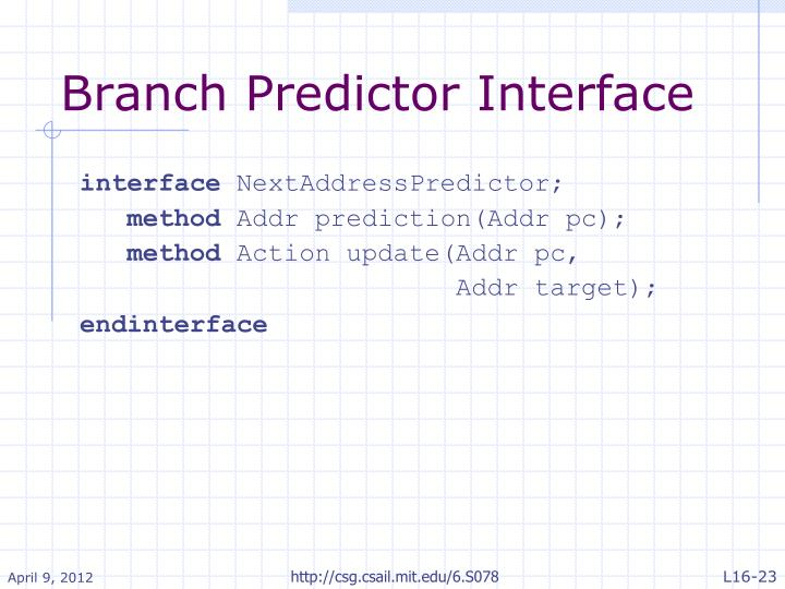 Branch Predictor Interface