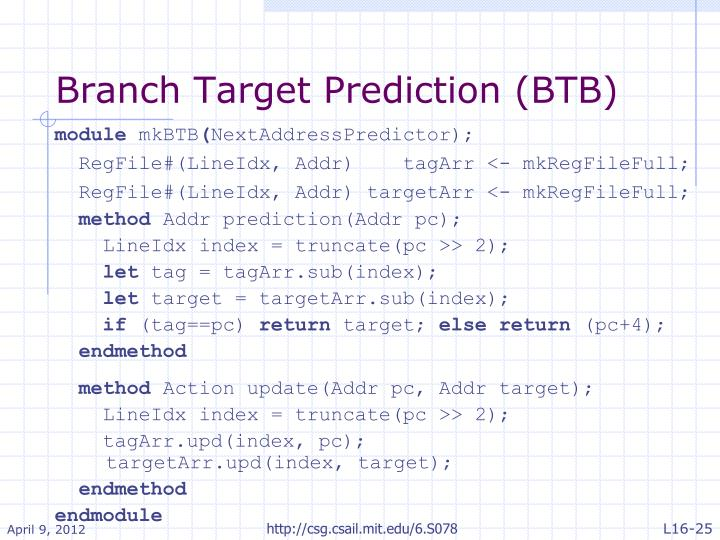 Branch Target Prediction (BTB)