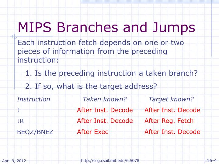 MIPS Branches and Jumps