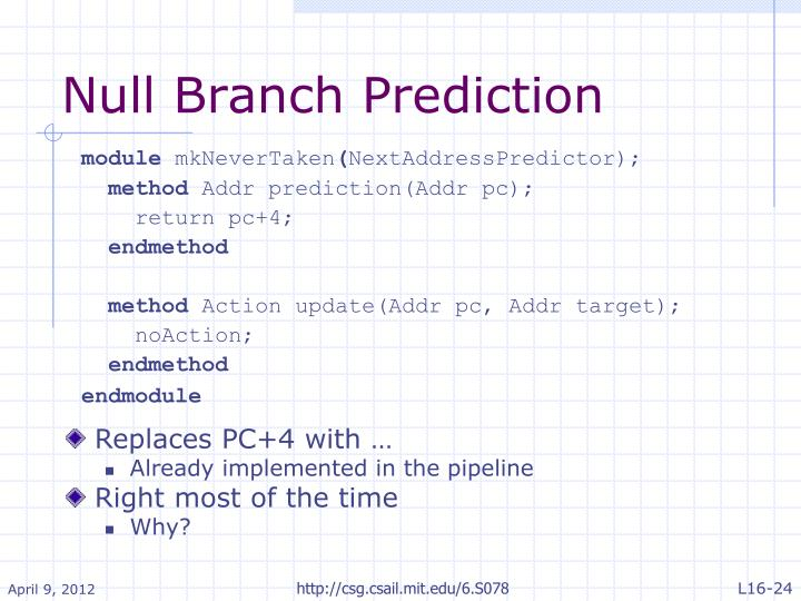 Null Branch Prediction