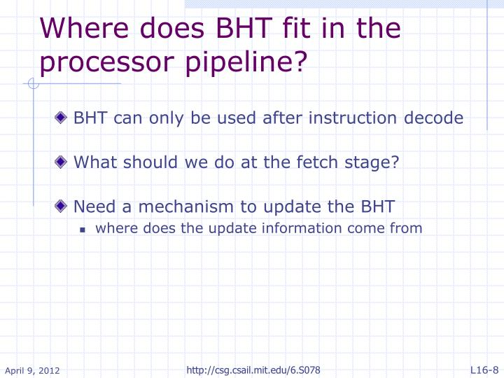 Where does BHT fit in the processor pipeline?