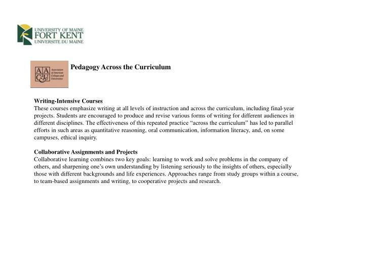 Pedagogy Across the Curriculum