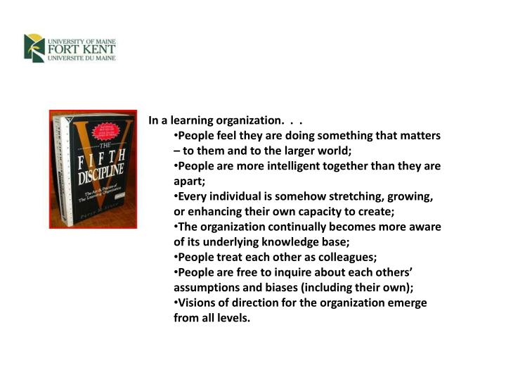 In a learning organization.  .  .