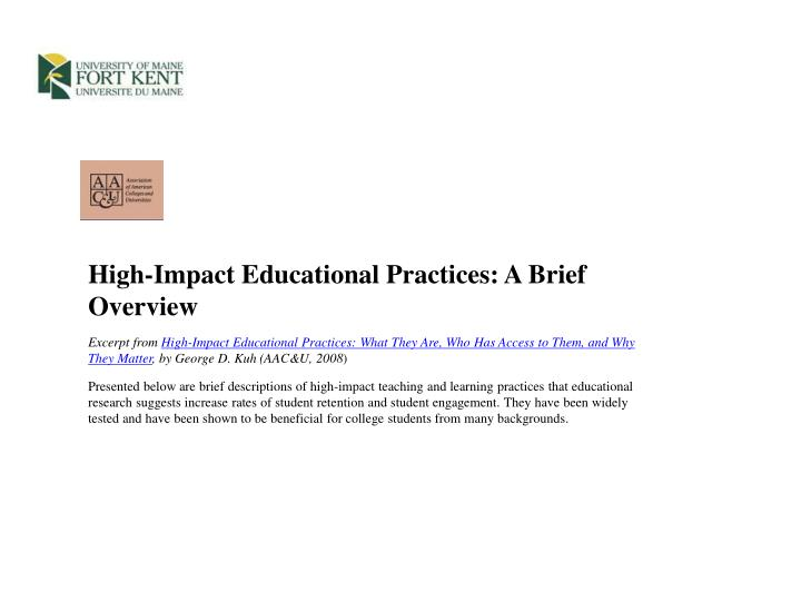 High-Impact Educational Practices: A Brief Overview