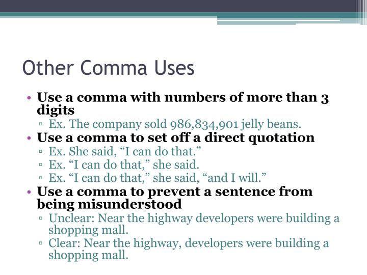 Other Comma Uses