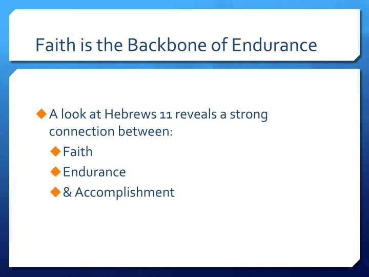 Faith is the Backbone of Endurance