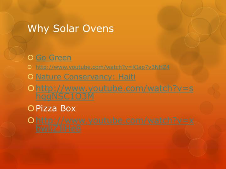 Why solar ovens