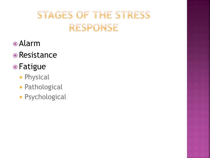 Stages of the stress response