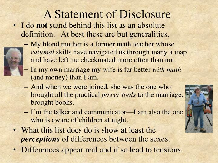 A Statement of Disclosure