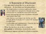 a statement of disclosure