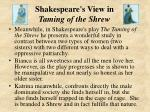 shakespeare s view in taming of the shrew