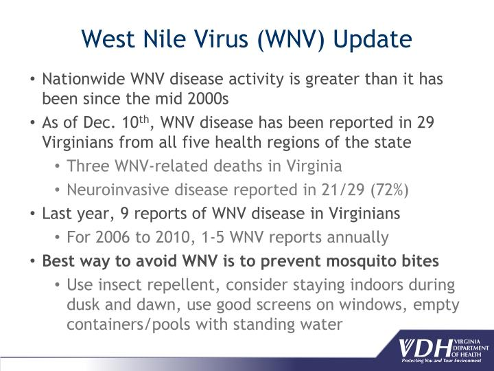 West Nile Virus (WNV) Update