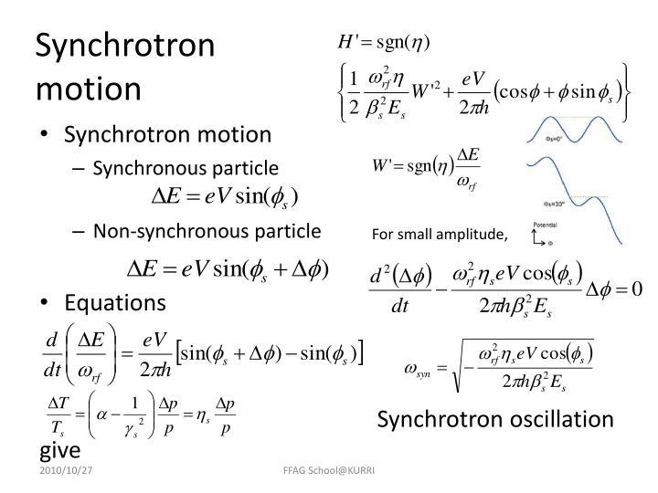 Synchrotron motion