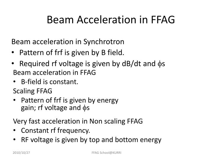 Beam Acceleration in FFAG