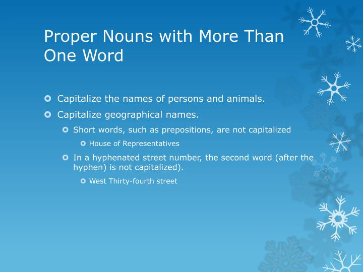 Proper nouns with more than one word