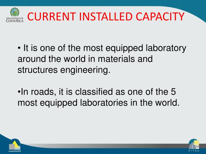 CURRENT INSTALLED CAPACITY