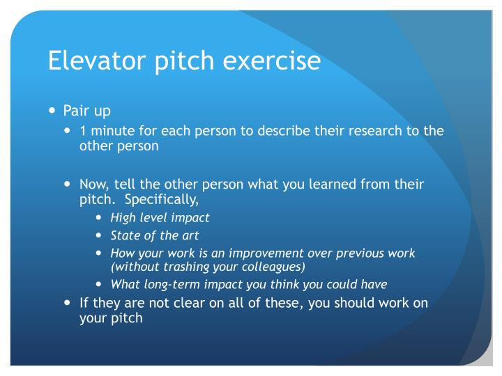Elevator pitch exercise