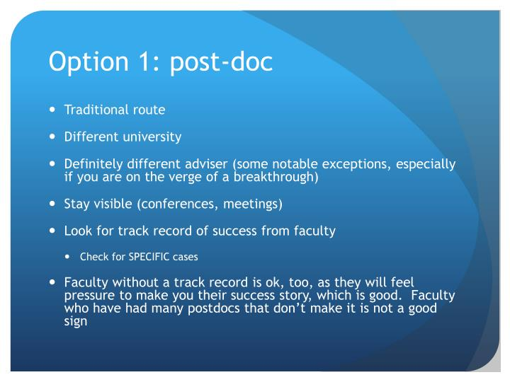 Option 1: post-doc