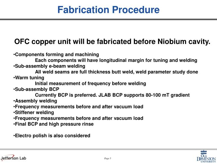 Fabrication Procedure