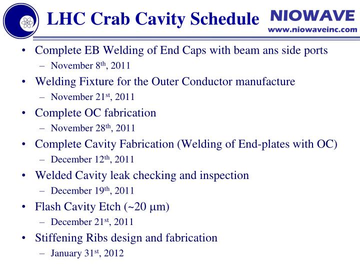LHC Crab Cavity Schedule