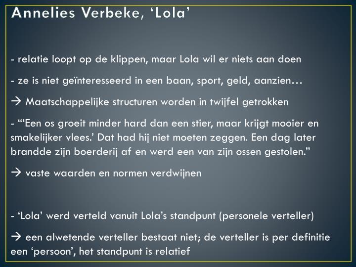 Annelies Verbeke, 'Lola'