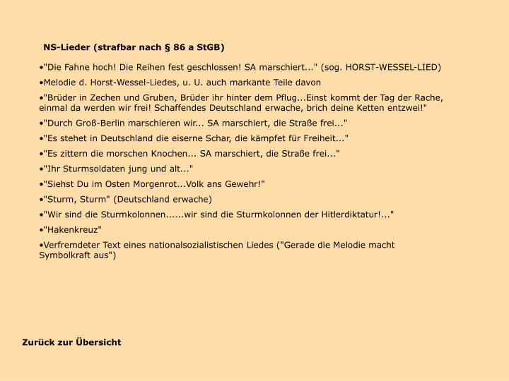 NS-Lieder (strafbar nach § 86 a StGB)