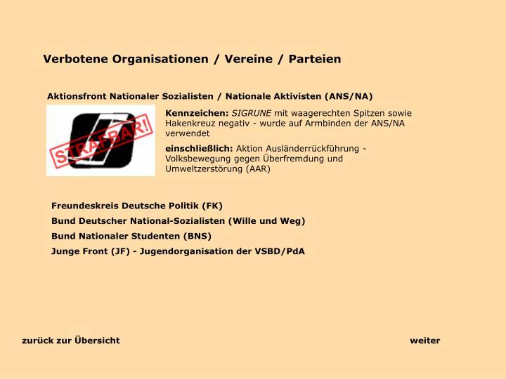 Verbotene Organisationen / Vereine / Parteien
