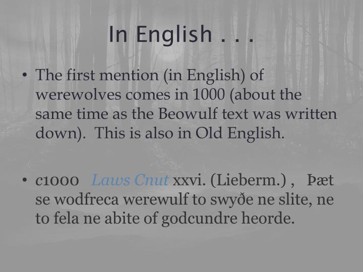 In English . . .