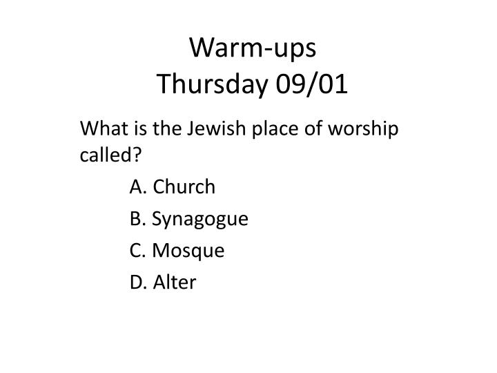 Warm ups thursday 09 01