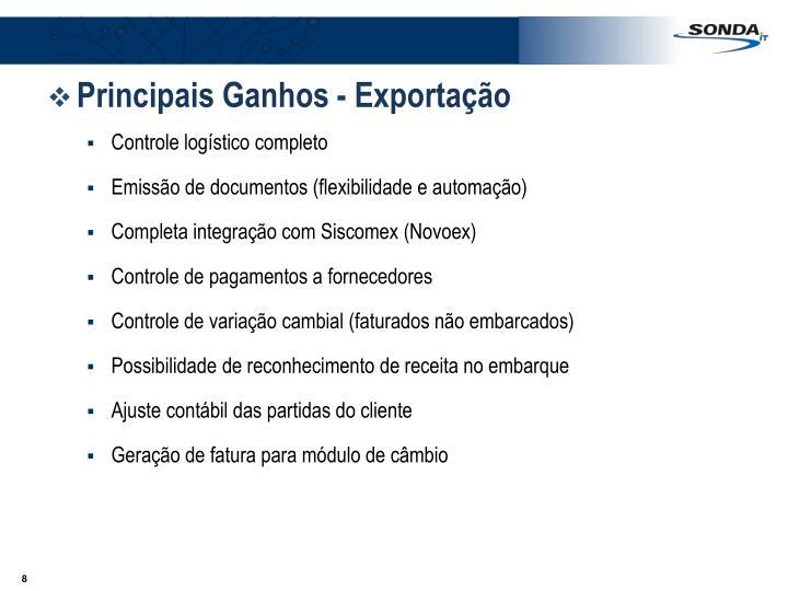 Principais Ganhos - Exportação