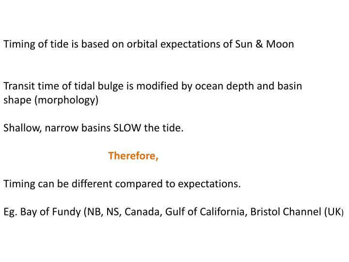 Timing of tide is based on orbital expectations of Sun & Moon