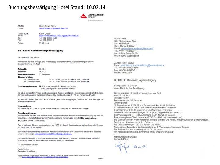 Buchungsbestätigung Hotel Stand: 10.02.14