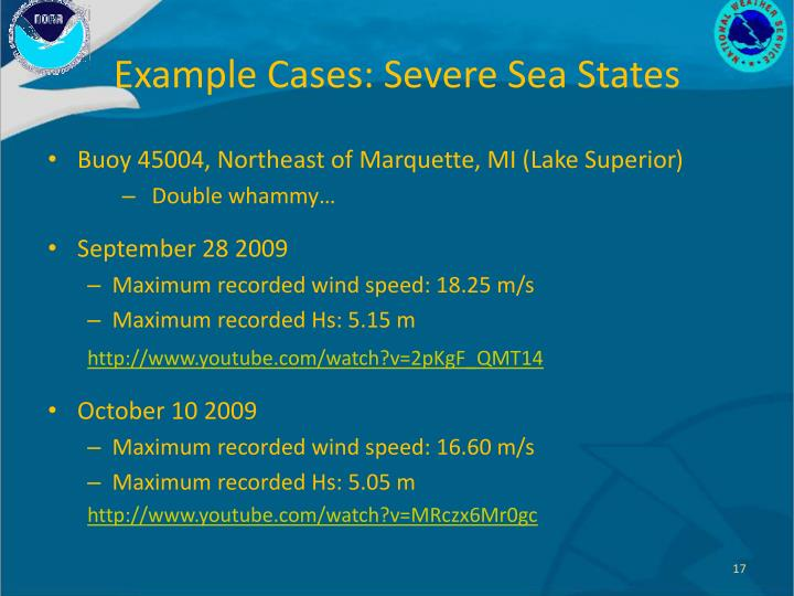 Example Cases: Severe Sea States
