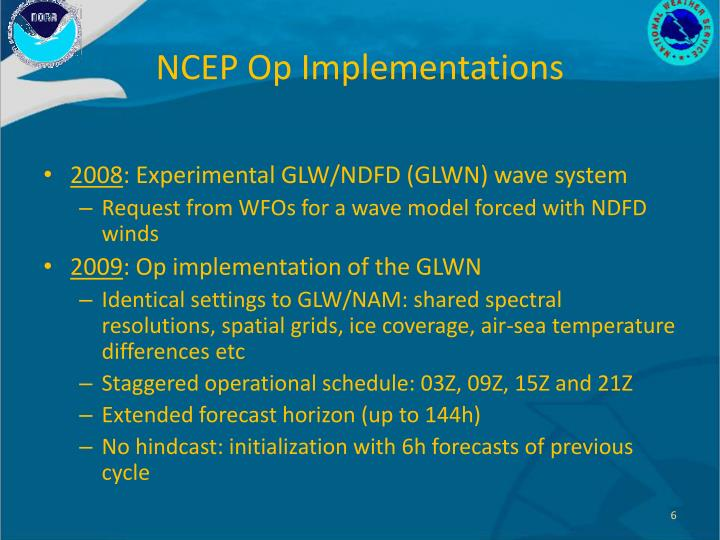 NCEP Op Implementations