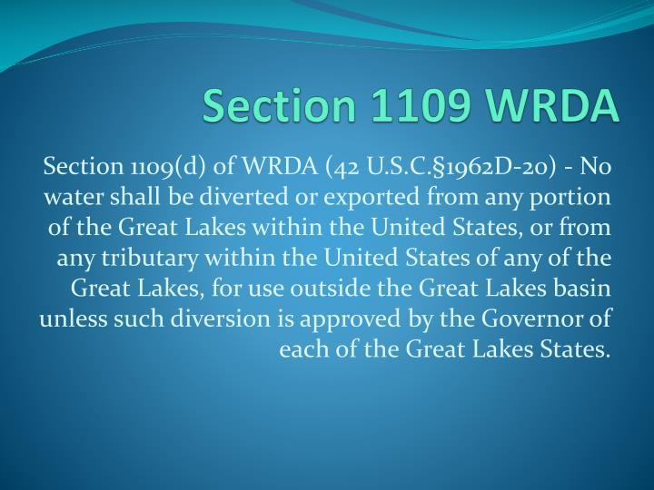 Section 1109 WRDA