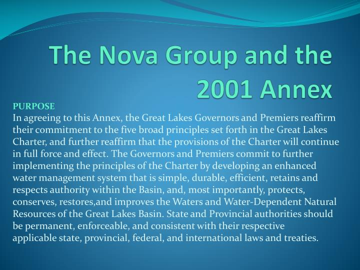 The Nova Group and the 2001 Annex