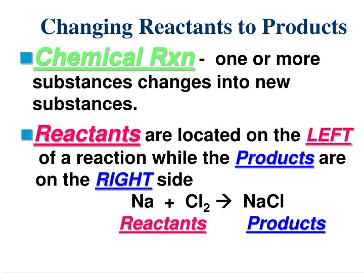 Changing Reactants to Products