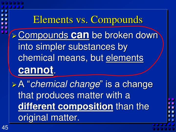 Elements vs. Compounds