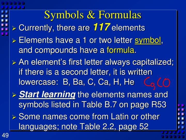 Symbols & Formulas
