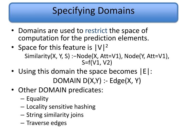 Specifying Domains