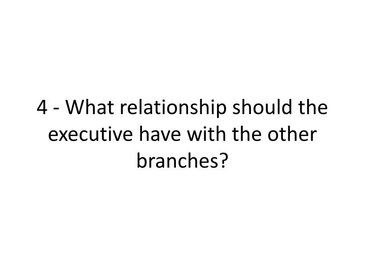 4 - What relationship should the executive have with the other branches?