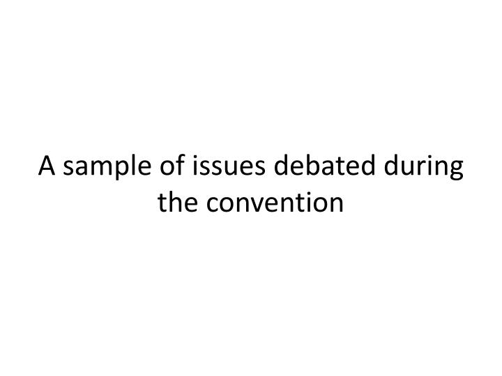 A sample of issues debated during the convention