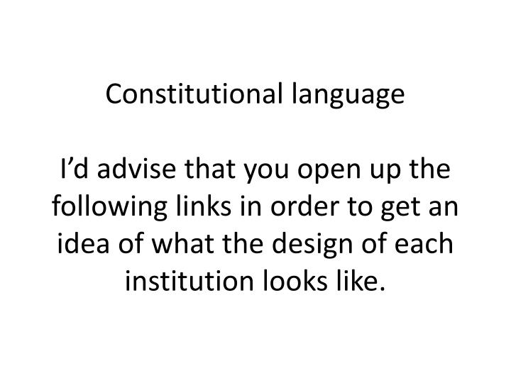 Constitutional language