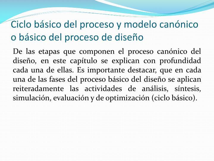 Ciclo básico del proceso y modelo canónico o básico del proceso de diseño