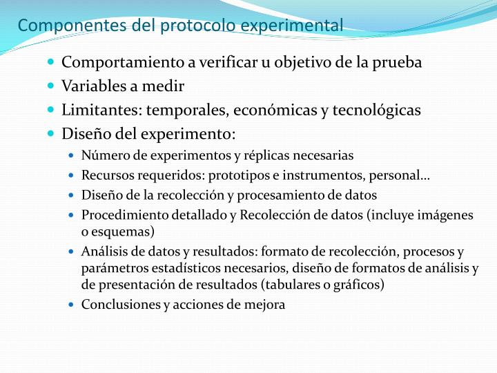 Componentes del protocolo experimental